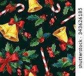 seamless watercolor christmas... | Shutterstock . vector #343626185