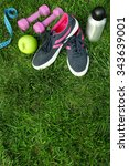 sports equipment on green grass ... | Shutterstock . vector #343639001