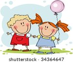 funny kids  with balloon | Shutterstock .eps vector #34364647
