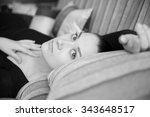 nice girl with open eyes on the ... | Shutterstock . vector #343648517