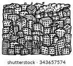 free hand drawn city on white... | Shutterstock .eps vector #343657574