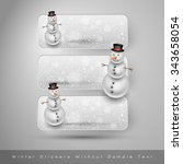 winter stickers with snowman... | Shutterstock .eps vector #343658054