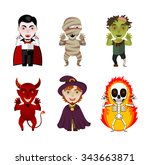 set of 6 infernal characters ... | Shutterstock .eps vector #343663871