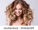 portrait of beautiful smiling... | Shutterstock . vector #343666289