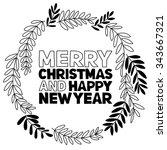 christmas vector poster. merry... | Shutterstock .eps vector #343667321