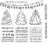 christmas hand drawn  brushes... | Shutterstock .eps vector #343672505