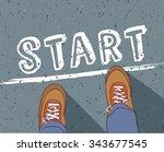 start line young man begin way. ...   Shutterstock .eps vector #343677545