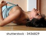 beautiful brunette wearing blue ... | Shutterstock . vector #3436829