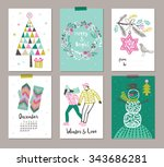 collection of 6 christmas card... | Shutterstock .eps vector #343686281