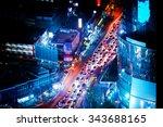futuristic night cityscape... | Shutterstock . vector #343688165