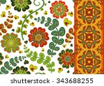 set of decorative floral... | Shutterstock .eps vector #343688255