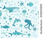 vector set of cute submarine... | Shutterstock .eps vector #343692005