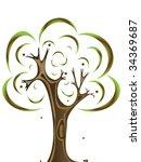 vector image of oak tree with... | Shutterstock .eps vector #34369687