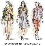 fashion models in a sketch... | Shutterstock . vector #343698149