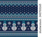 winter holiday seamless knitted ... | Shutterstock .eps vector #343703165