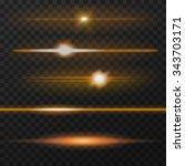orange horizontal lens flares... | Shutterstock .eps vector #343703171