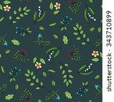 floral seamless pattern. flower ... | Shutterstock .eps vector #343710899