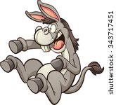donkey mocking and laughing... | Shutterstock .eps vector #343717451