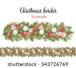 watercolor christmas border... | Shutterstock . vector #343726769
