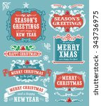 christmas set   retro labels ... | Shutterstock .eps vector #343736975