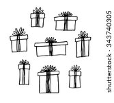 hand drawn gift boxes set. | Shutterstock .eps vector #343740305
