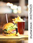 Craft Beer With Hamburger And...