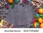 Christmas Background With Frui...