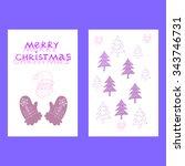 merry christmas retro poster... | Shutterstock .eps vector #343746731
