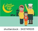 selamat hari haji typography... | Shutterstock .eps vector #343749035