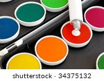 watercolors with opaque tube on ... | Shutterstock . vector #34375132