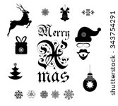 a set of christmas symbols for... | Shutterstock .eps vector #343754291