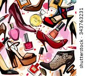 watercolor cosmetics and shoes... | Shutterstock .eps vector #343763231