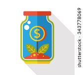finance money tree bottle flat... | Shutterstock .eps vector #343778069