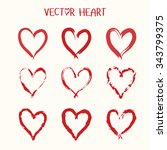 set of  vector heart icon.... | Shutterstock .eps vector #343799375