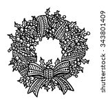 christmas wreath intricate hand ... | Shutterstock .eps vector #343801409