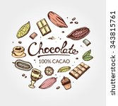 hand drawing pattern of cacao...   Shutterstock .eps vector #343815761