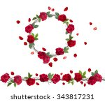 blossoming branch of red roses. ... | Shutterstock .eps vector #343817231