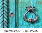 old wooden turquoise door with... | Shutterstock . vector #343819985