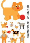 funny orange animals. vector | Shutterstock .eps vector #34382458