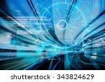 futuristic cyber laser target... | Shutterstock . vector #343824629