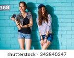 two beautiful best friends... | Shutterstock . vector #343840247