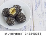 fried black sesame glutinous...   Shutterstock . vector #343840355
