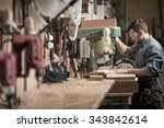 picture of skilled carpenter... | Shutterstock . vector #343842614