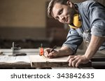 photo of handsome carpenter... | Shutterstock . vector #343842635