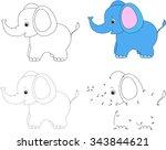 cartoon elephant. dot to dot... | Shutterstock .eps vector #343844621