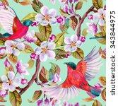 apple blossom and flying birds. ... | Shutterstock . vector #343844975