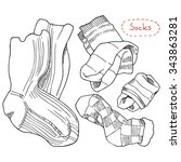 socks  a set of hand drawn... | Shutterstock .eps vector #343863281