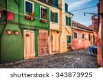 colourfully painted house... | Shutterstock . vector #343873925