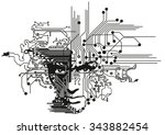 circuit boards face   Shutterstock .eps vector #343882454