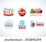 colorful winter sale emblems ... | Shutterstock .eps vector #343890299